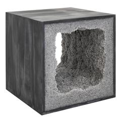 Black Cement and Rock Salt Table by Fernando Mastrangelo