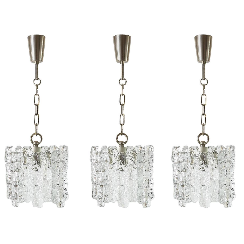 Set of three of kalmar ice glass chandeliers or pendant lights set of three of kalmar ice glass chandeliers or pendant lights 1960s at 1stdibs aloadofball Choice Image