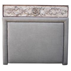 Custom French Carved Painted King-Size Headboard