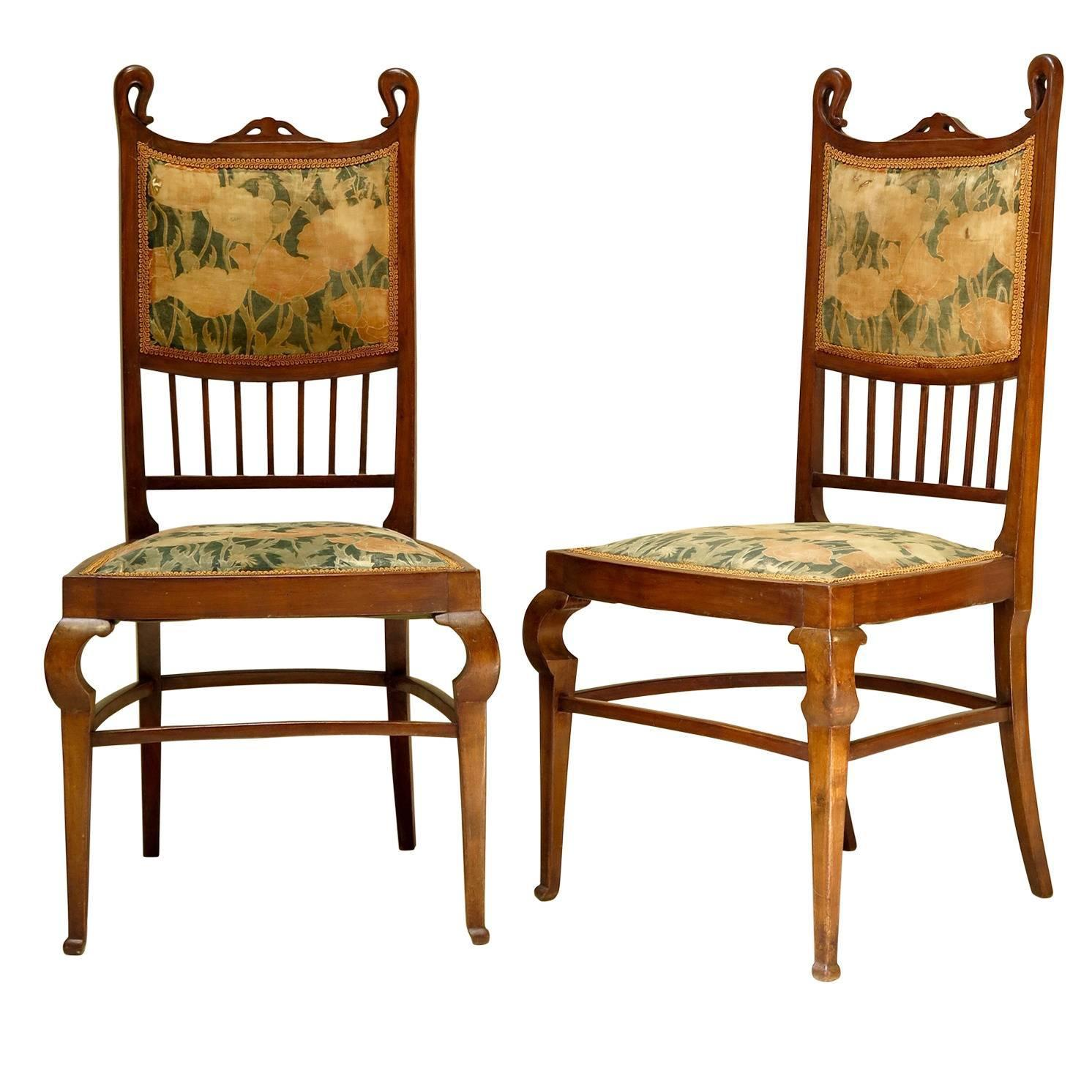 Set of Six Art Nouveau Dining Chairs France Early 1900s at 1stdibs
