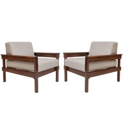 Pair of Midcentury Brazilian Jacaranda Armchairs Upholstered in Beige Linen
