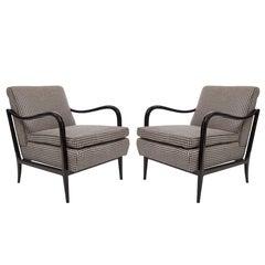 Pair of Mid-Century Ebonized Armchairs