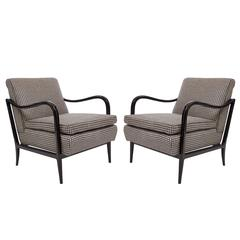 Pair of Mid-Century Ebonized Armchairs Attributed to Joaquim Tenreiro