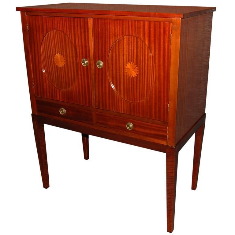 Swedish Mahogany Inlaid Bar / Storage Cabinet