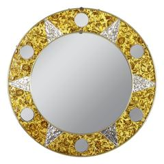 Unusual 20th Century Circular Mosaic Sun Mirror
