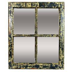 19th c.Industrial Wood Window Frame as Mirror