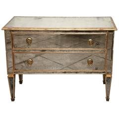 Mirrored and Gold Gilt Two Drawers Chest