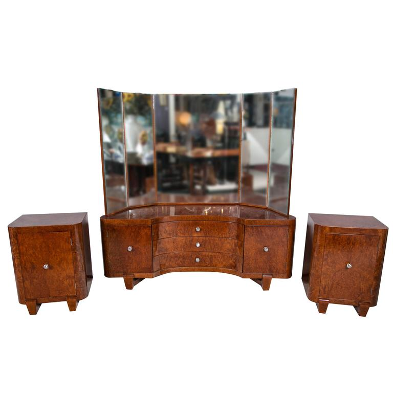 Burlwood art deco vanity or dressing table with two matching night stands at 1stdibs - Deco dressing ...