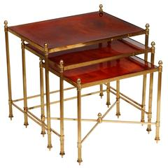Maison Jansen Brown Glass Nesting Tables