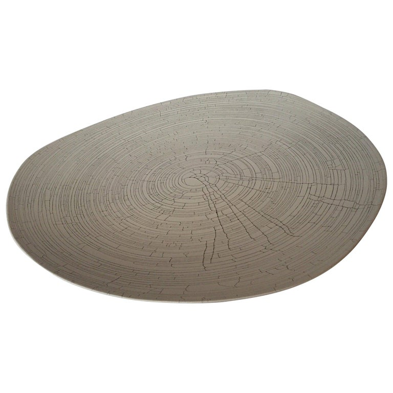 Handmade Fine Ceramic Grey Birch Motif Platter, Italy, Contemporary In Excellent Condition For Sale In New York, NY