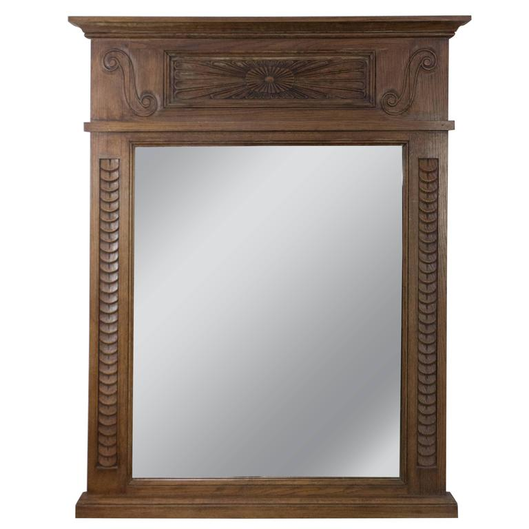 Late 19th century french mantel mirror with carved wooden for Fireplace mirrors