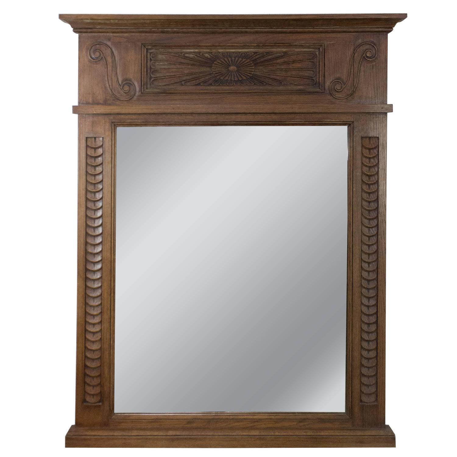 Late 19th century french mantel mirror with carved wooden for Mantel mirrors