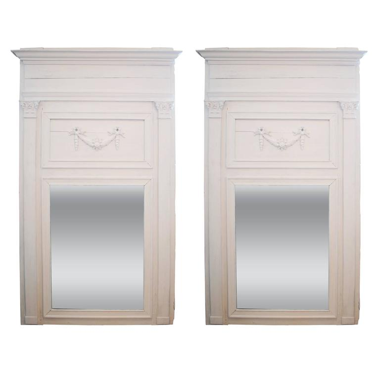 Pair of 19th Century Large-Scale Painted Trumeau Mirrors