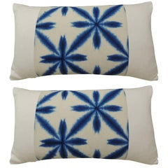 Pair of Vintage Japanese Shibori Blue and White Bolster Throw Pillows