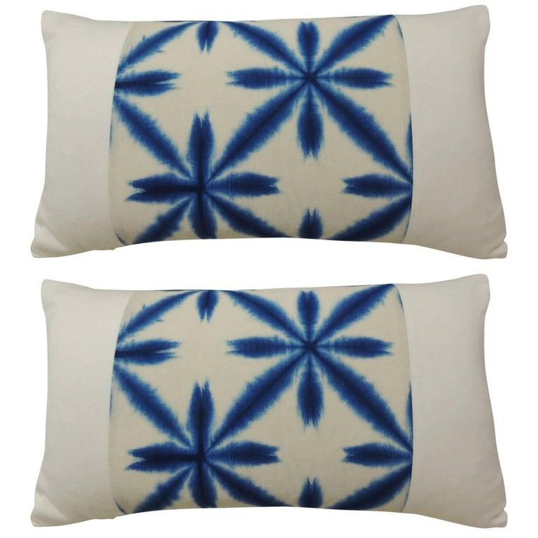 Pair of Vintage Japanese Shibori Bolster Throw Pillows For Sale at 1stdibs