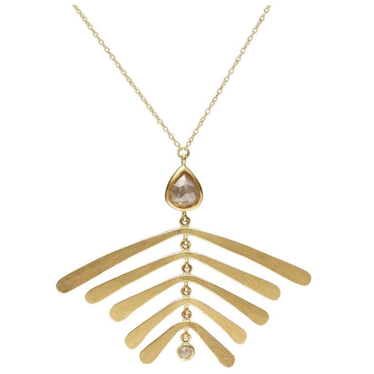 Christopher Phelan White Rose Cut Diamond 18-Karat Gold Necklace