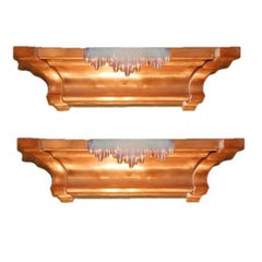 Pair of French Art Deco Copper and Opalescent Glass Icicle Sconces by Ezan