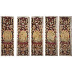 Set of Five French Needlepoint Panels, circa 1880