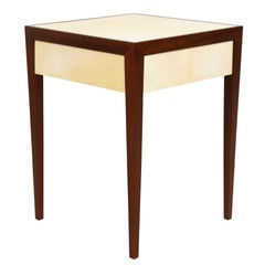 Custom Pair of Parchment  End Tables with Pull-Out Drawers