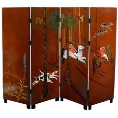 Important Four-Panel Art Deco Folding Screen by Jean Dunand
