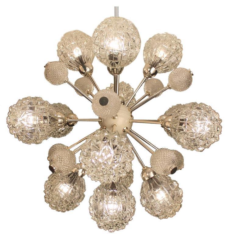 Large Sunburst Glass Chandelier,  1960s Modernist  Stilnovo Style Pendant Lamp  For Sale