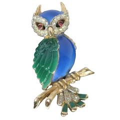 1960 Rare Beautiful Signed Crown Trifari Jeweled Owl Brooch
