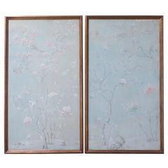 Pair of Chinoiserie Wallpaper Panels
