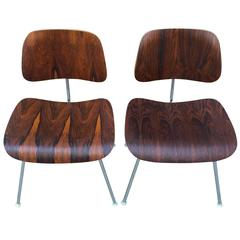 Pair of Eames Rosewood DCM Chairs for Herman Miller
