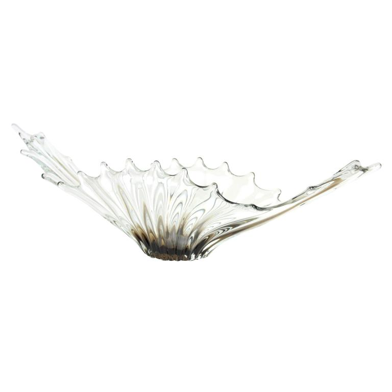 Mid-Century Modern Smoked and Clear Scalloped Murano Art Glass Centerpiece