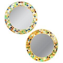 Whimsical Pair of Mid-Century Circular Mirrors with Multi-Color Glass Mosaic