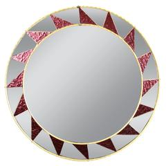 1960s Mosaic Circular Mirror Framed by a Pattern of Garned Mirrored Glasses