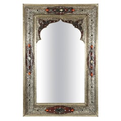 Moroccan Mirror Silver and Leather