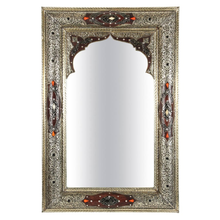 Moroccan mirror silver and leather for sale at 1stdibs for Silver mirrors for sale