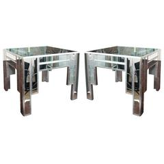 Art Deco Style Pair of Mirrored and Silver Leaf Occasional Tables