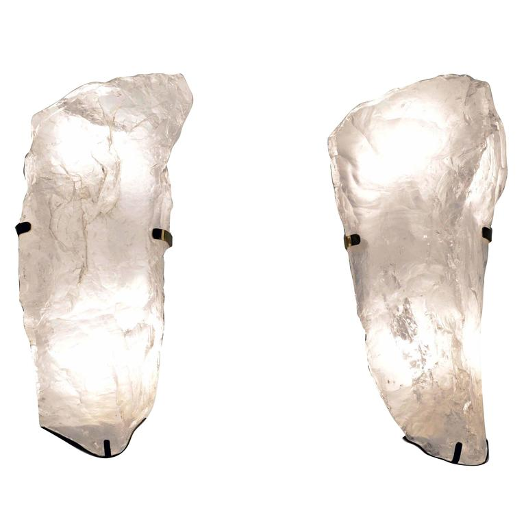 Pair of Natural Form Rock Crystal Wall Sconces at 1stdibs
