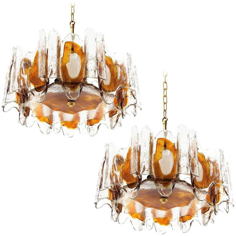 Two Kalmar Chandeliers Pendant Lights, Orange Murano Glass Brass, 1970s