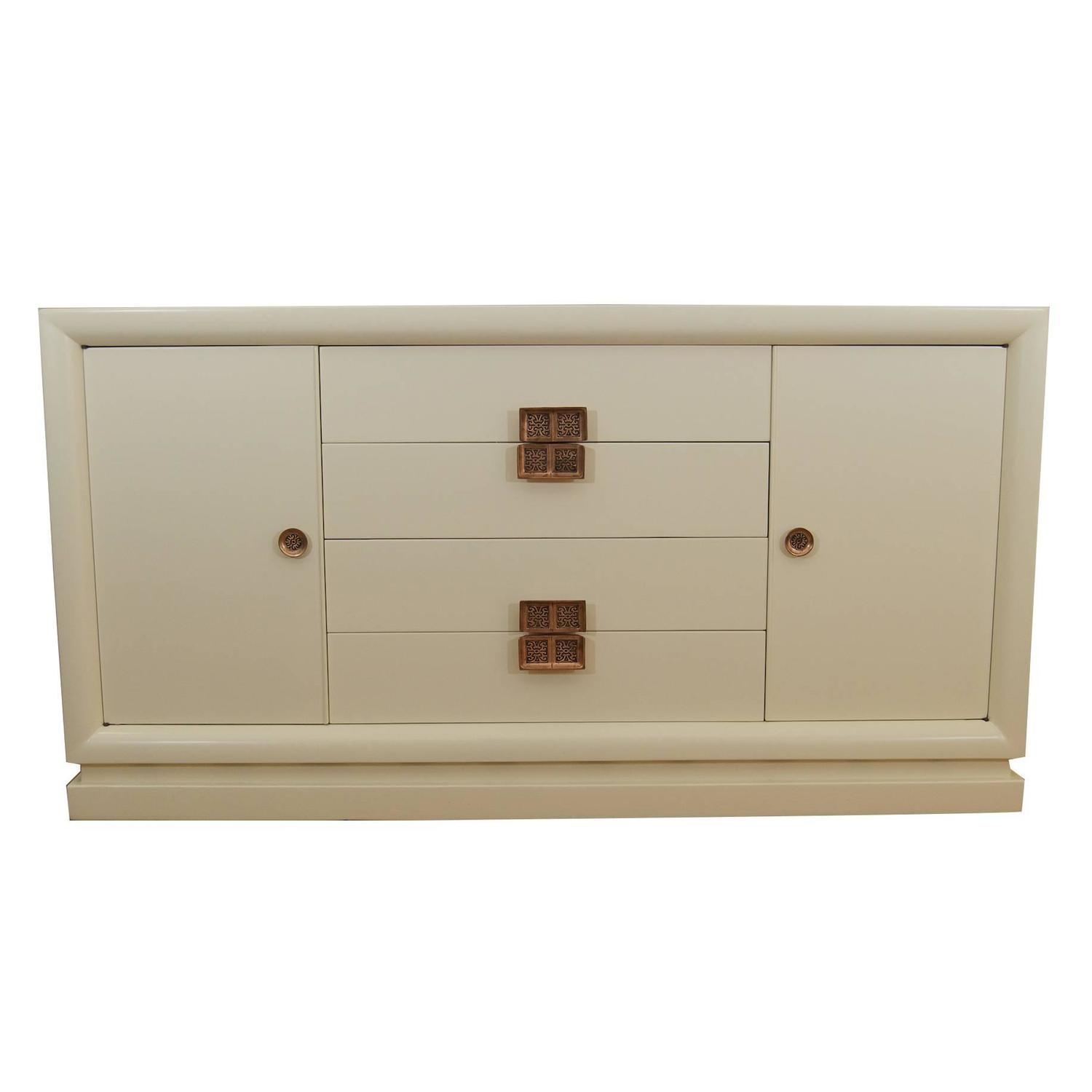 White Lacquer Dresser By Selig With Asian Inspired Pulls For At 1stdibs