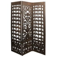 Antique Neoclassical Style Wrought Iron Screen Inspired By Addison Mizner
