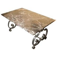 French Wrought Iron Center Table with Marble Top
