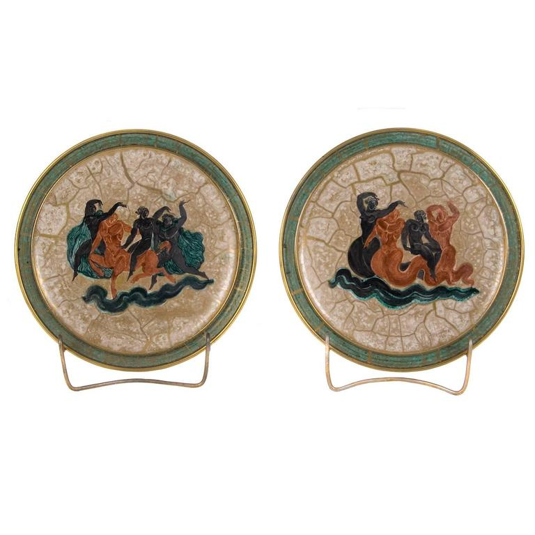 Pair of French Hand-Painted Earthenware Plates by Jean Mayodon for Sevres, 1951 1