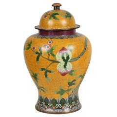 A Yellow Cloisonne Temple Jar with Peaches