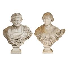 Pair of 18th Century Busts on Pedestals