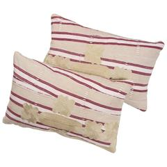 Embroidered Ashante African Textile Pillows. 15 x 25
