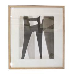 Jacques Nestle Abstract Black, White and Grey Ink Painting, France, 20th Century