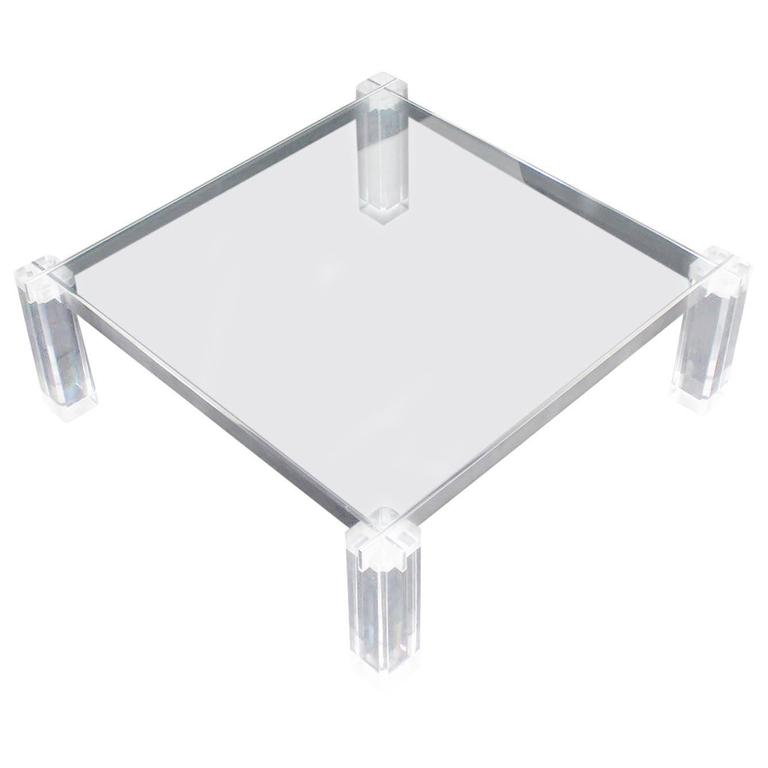 Lucite base large square coffee table for sale at 1stdibs for Acrylic coffee tables for sale