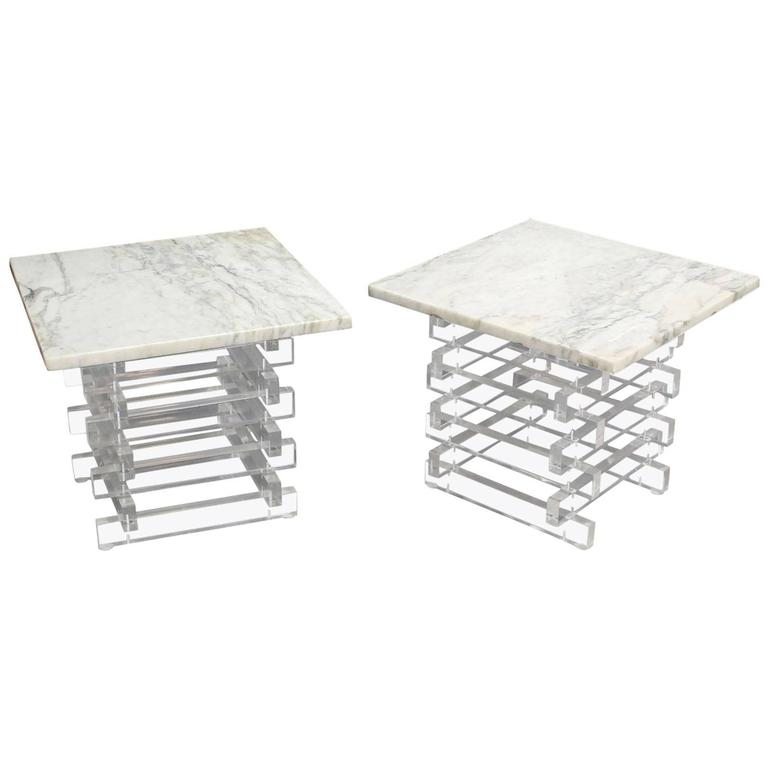 Pair Stacked Lucite Base and Marble Top Square Side Mid Century Modern End Table