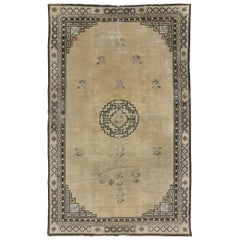 Distressed Antique Chinese Peking Rug with Art Deco Style, Mid-19th Century Rug