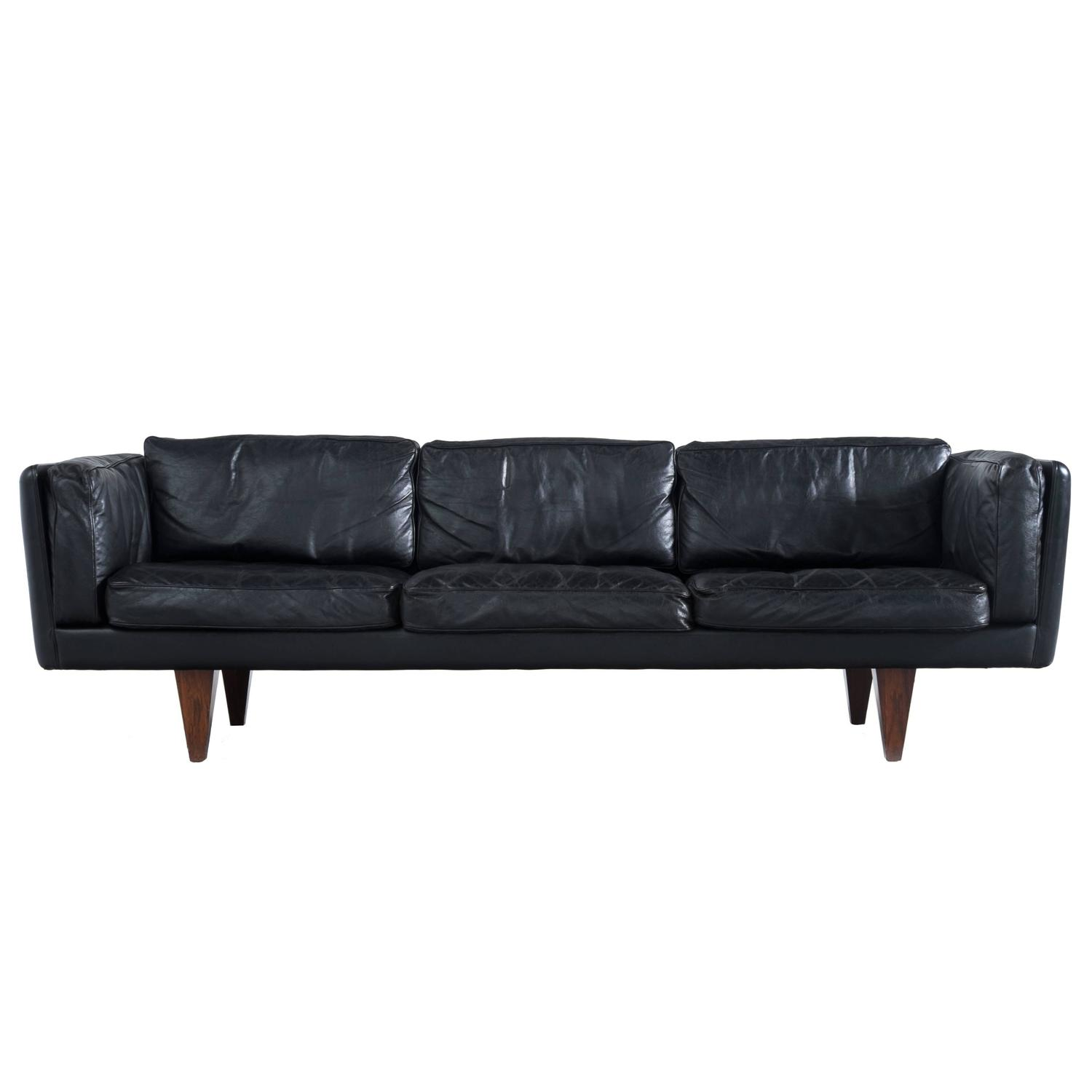 ThreeSeater Sofa in Black Leather by Illum Wikkelsø at 1stdibs