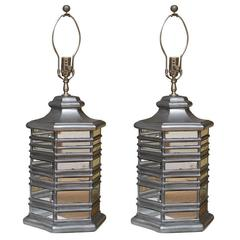 Pair Asian Pagoda Styled Lamps with Mirror Inserts and Silvered Wood Trim