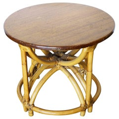Restored Five Strand Hour Glass Rattan Coffee Table